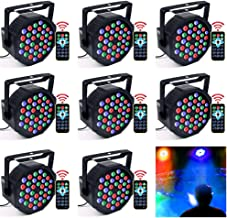 DJ Lights, KOOT 36 X 1W RGB Stage Disco Uplighting Package Sound Activated Strobe Lights, High Brightness and Quiet Motor with Remote and DMX Control, Best for Wedding Church Bar Birthday (8 Packs)