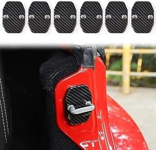 Voodonala for Jeep JK ABS Carbon Fiber Door Lock Covers Protection Trim for 2007-2018 Jeep Wrangler JK JKU, 2016+ Jeep Renegade, 2011+ Grand Cherokee, Chrysler, Grand Commander, 2019 RAM 6PCS