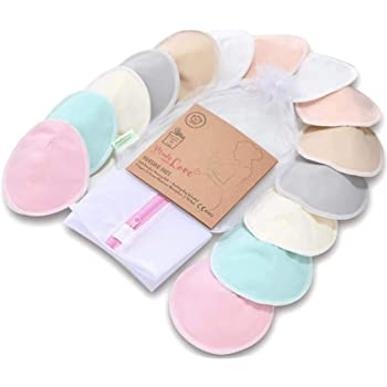 "Organic Bamboo Nursing Breast Pads - 14 Washable Pads + Wash Bag - Breastfeeding Nipple Pad for Maternity - Reusable Nipplecovers for Breast Feeding (Pastel Touch, Large 4.8"")"