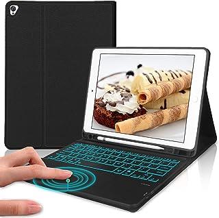 DINGRICH ipad 8 2020 カバー iPad 10.2 タッチパッド キーボード ケース 第7世代 2019 7色バックライト ipad air 第三世代 カバー ケース [ペンシルホルダー付き] ワイヤレス Bluetooth ...
