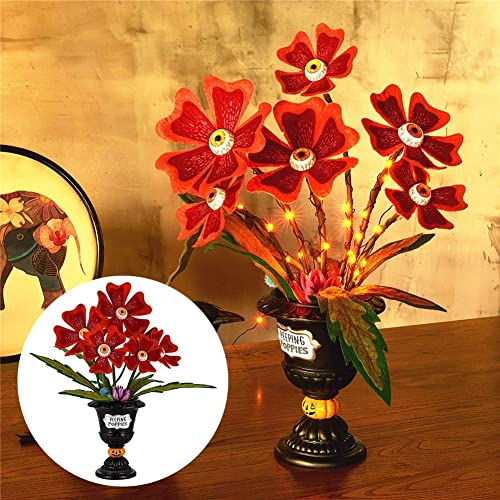 lowest Twinkle Star Halloween Table Decorations, Halloween Succulent Artificial Flowers, Ghoulish Garden Peeping online Poppies Eye Ball Flowers with 30 LED Orange online sale Light, Horror Plant Centerpieces Tabletop Decor online