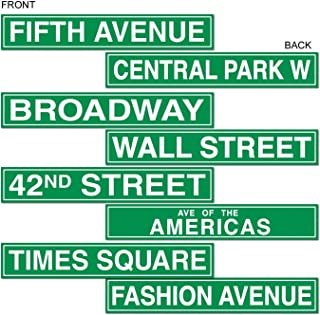 Beistle 50094 New York City Paper Street Signs 4 Piece Wall Cutouts, Awards Night Decorations, Green/White