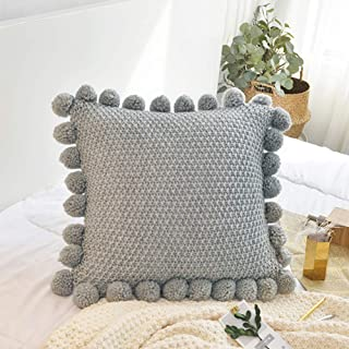"""LakeMono Knitted Throw Cushion Covers Decorative Stretchable Pillow Case with Pompoms for Living Room/Car/Office (Jade Grey,18"""" x 18""""-20"""" x 20"""")"""