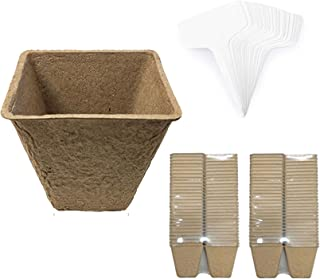 LAVZAN Square Peat Pots Plant Starters for Seedling with Plant Labels, Biodegradable Herb Seed Starter Pots Kits, Garden G...
