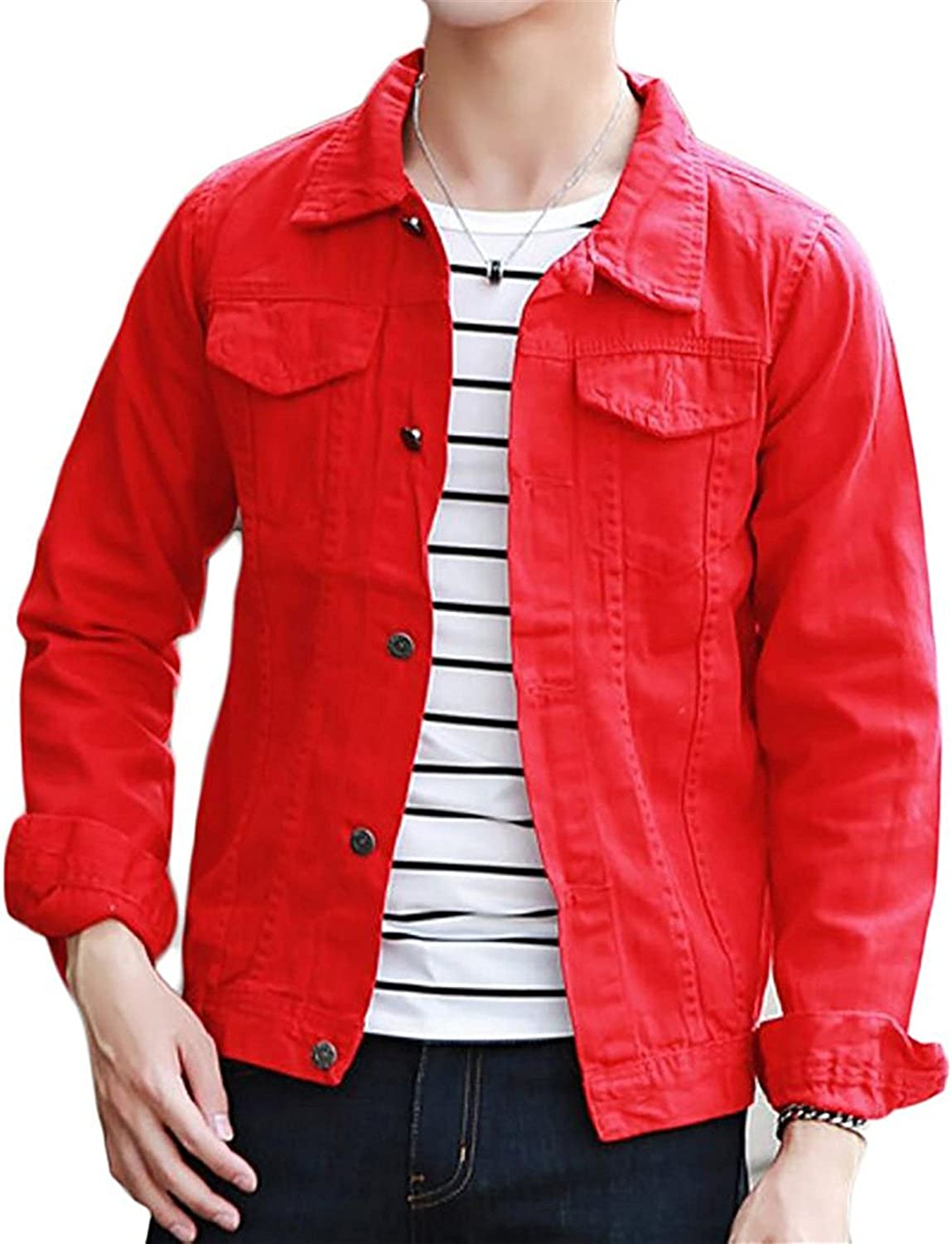 0d5e5f0b0380af Josherly Men's Casual Cotton Solid Solid Solid Long Sleeve Denim Jacket  Outwear 529415