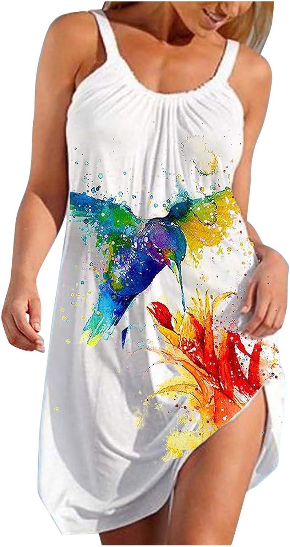 Toeava Summer Dresses for Women, Women's Fashion Sleeveless Tank Top Dress Cute Cartoon Print Hem Loose Beach Dress