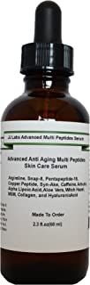 Advanced Anti Aging Multi Peptides Skin Care Serum with Caffeine,Hyaluronic Acid ,Argireline, Snap-8, Pentapeptide-18, Copper Peptide, Syn-Ake (2.3oz)