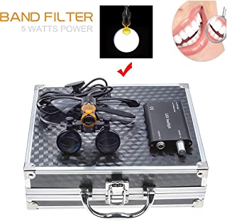 Aries Outlets 5W Portable LED Dental Headlight With Clip Filter Headlamp for 3.5X 420MM Dental Surgical Medical Binocular Loupe Different Colors Aluminum Box DY-007 (Black)