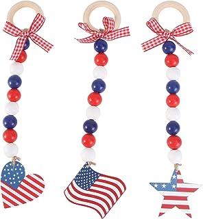 ABOOFAN 3個独立記念日木製ビーズ花輪アメリカの国旗チャーム愛国4th月ビーズ花輪素朴なナショナルデー農家の装飾