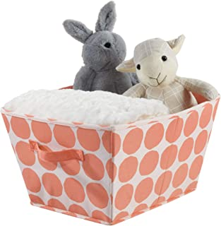 iDesign Canvas Storage Box  Large Foldable Toy Box Made Cotton Polyester Mix with Handles  Polka Dot Fabric Box for the Cupboard  Bedroom and Nursery  Orange