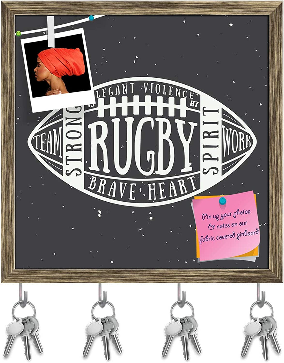 Artzfolio Rugby Or American Football Ball D2 Key Holder Hooks   Notice Pin Board   Antique golden Frame 20 X 20Inch