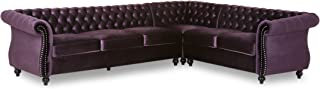 Lorraine 6 Seater Velvet Tufted Chesterfield Sectional BlackBerry and Dark Brown