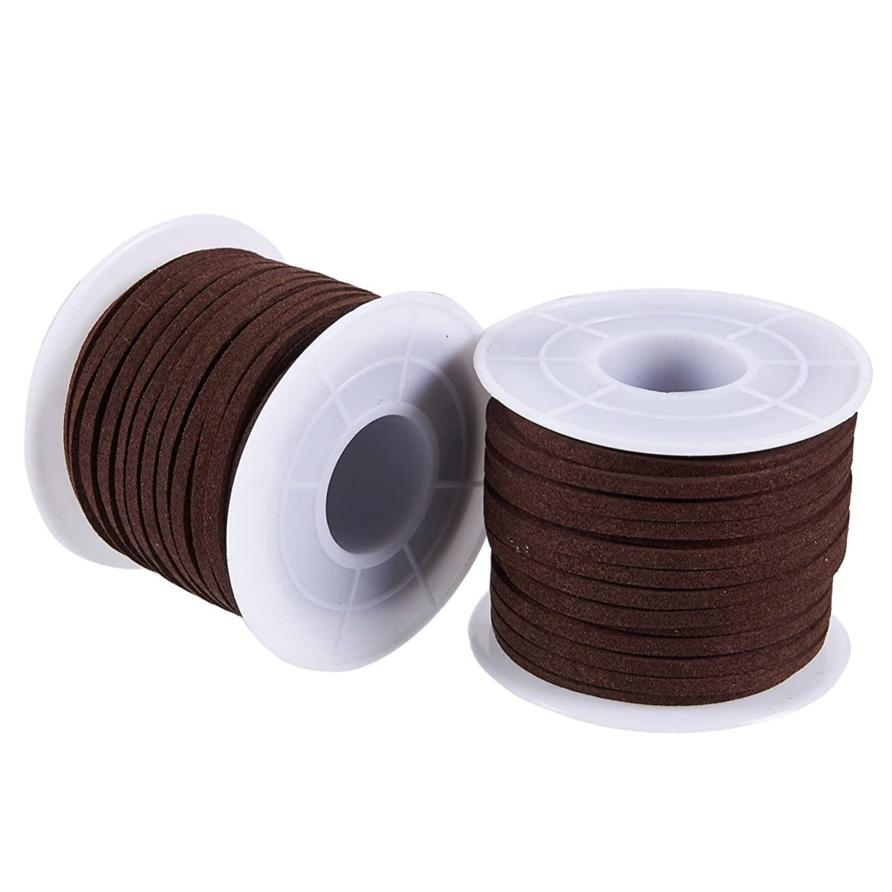 Faux Deerskin Lace Spool - 2-Pack 16.4-Yard Suede Leather Strap Beading Cord, Flat Leather Cord, Brown, 0.1 Inches Wide and 49.2 Feet Long Each