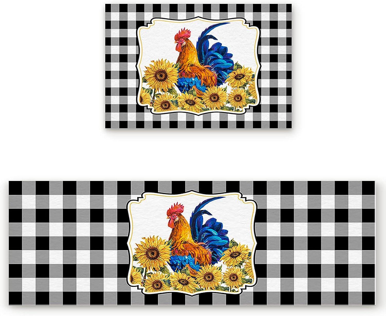 Kitchen Rug Sets 2 Under blast sales Piece Rooster Sunflowers Floral N Farm Animal Over item handling ☆