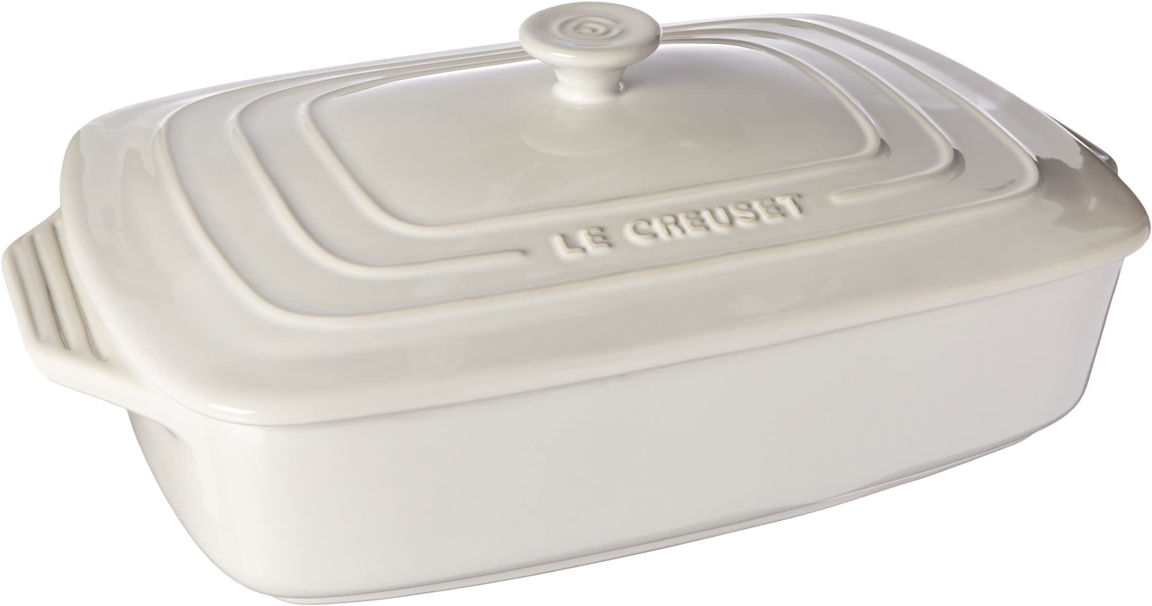 "Le Creuset Stoneware Covered Rectangular Casserole, 3.5 qt. (12.5"" x 8.5""), White"