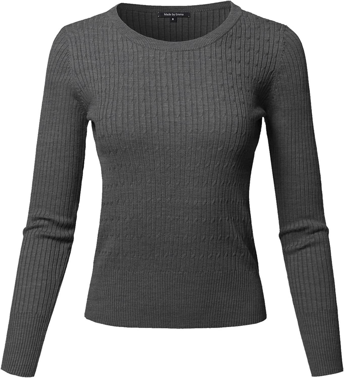 Made by Emma Women's Basic Solid Classic Long Sleeve Cable Knit Sweater