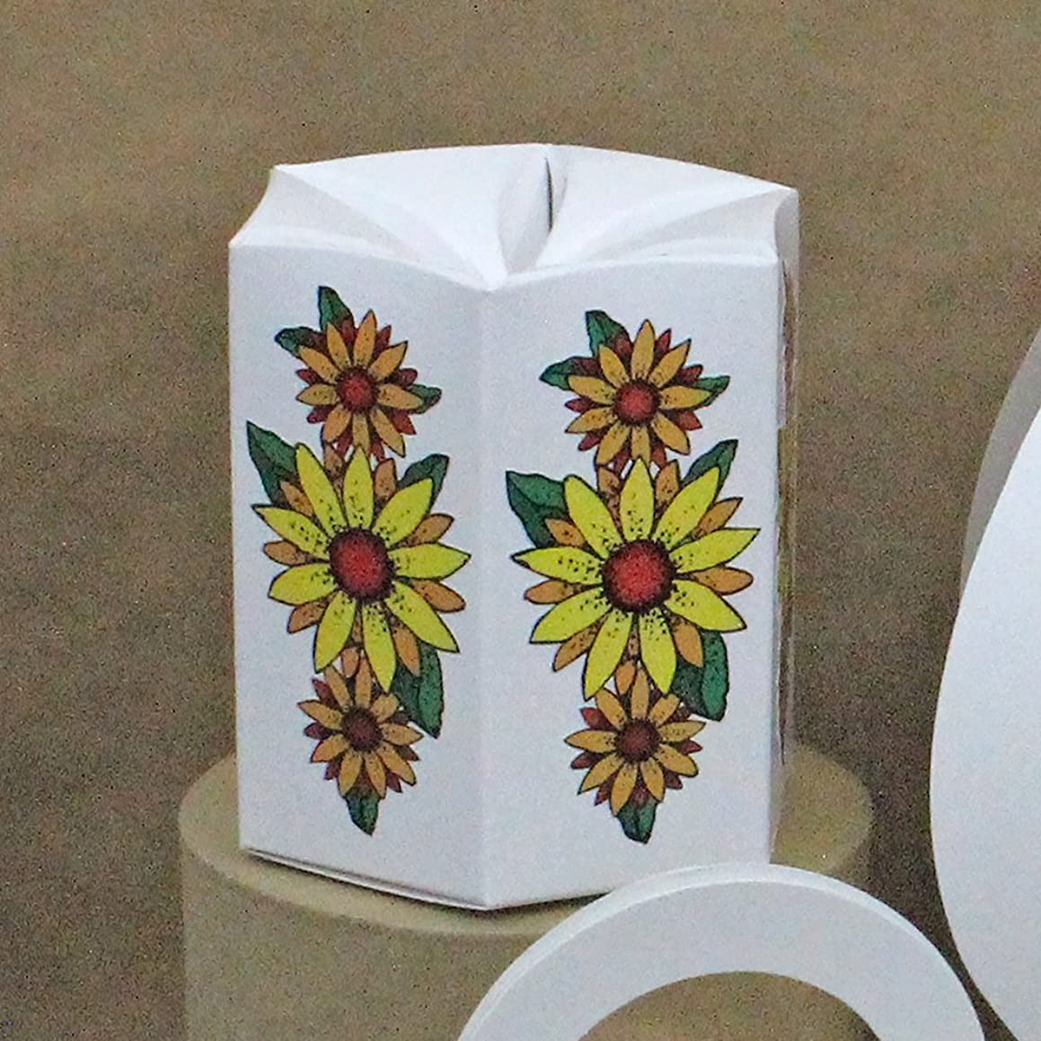 Four Sunflowers Design Favor Boxes, Candy Boxes, Treat Boxes, Treasure Boxes, Gift Boxes, Party Supplies, Shower Favor Boxes