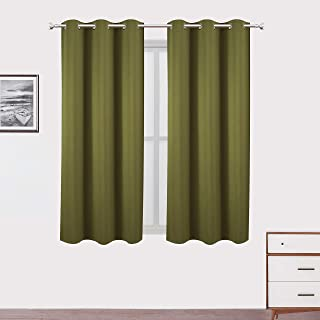 LEMOMO Olive Green Blackout Curtains 38 x 54 Inch Length/Set of 2 Curtain Panels/Thermal..
