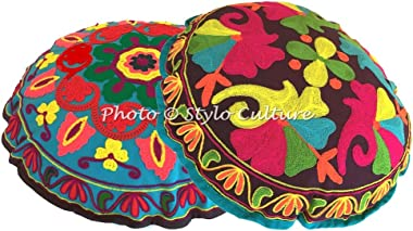 Stylo Culture Ethnic Round Floor Pillow Traditional Sujani Embroidered Cushion Cover Colorful 18 x 18 Small Decorative Decor Seating Tuffet Seat Pouf Cover Footstool Cotton Floral Set of 2