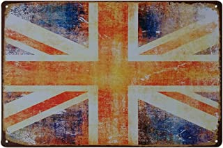 winomo UK British Flag Vintage Decorative Signs for Wall Home Bar Coffee Shop