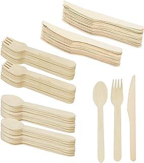 COM-FOUR® 120 piezas Cubiertos desechables consisten en cuchara, tenedor, cuchillo - cubiertos desechables, cubiertos de madera ecológicos, biodegradables (120 piezas - mezcla de cubiertos)