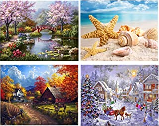 SanerDirect 4 Pack 4 Seasons 5d Diamond Painting Kits, Landscape Full Drill Paint with Diamonds 12x16 inches