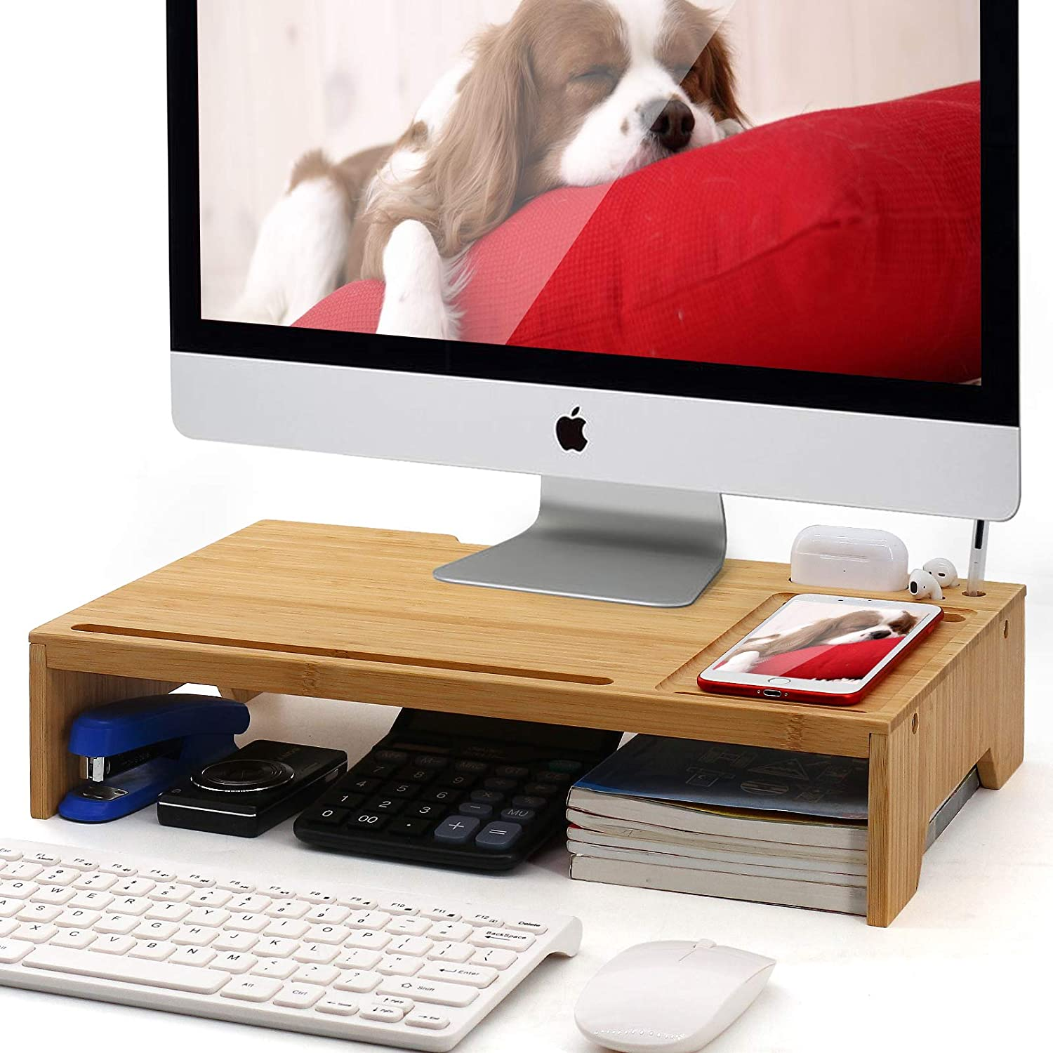Bamboo Monitor Stand Riser Desk Organizer, Pezin & Hulin Home and Office Wood Desktop Stand Storage for Computer, Laptop, PC, Printer, Notebook