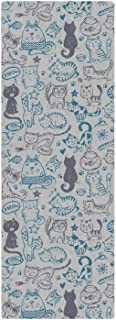GLPOIGMNIJTID Cartoon Cute Cats Faces Blue Background (71