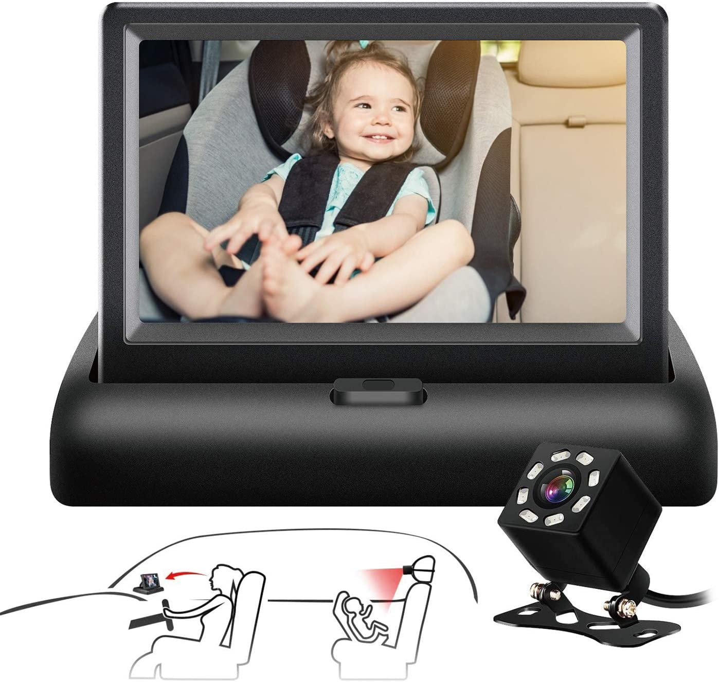 VEKOOTO Baby Car Mirror with Night Vision for Baby Safety Car Seat Rear Facing The 4.3-Inch HD Display Car Baby Monitor with Camera Easy Installtion