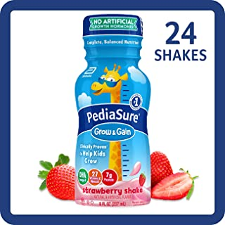 PediaSure Grow & Gain Kids' Nutritional Shake, with Protein, DHA, and Vitamins & Minerals, Strawberry, 8 fl oz, 24-Count