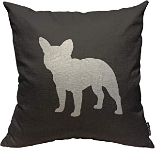 Mugod Throw Pillow Cover French Bulldog Silhouette Home Decorative Linen Square Pillow Case for Men Women Boy Gilrs Bedroom Livingroom Cushion Cover 18x18 Inch Black and White Pillowcase