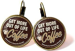 Orecchini con cabochon, Love coffee