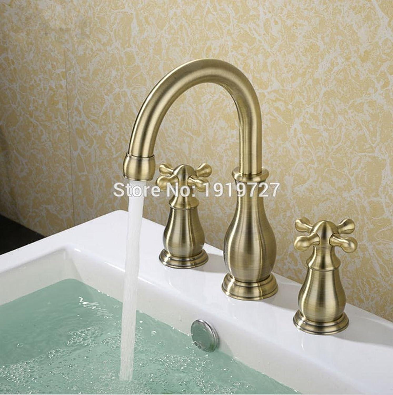 AllureFeng Hochwertige 100% massivem Messing Quer eine breite Palette von drei Lchern 2 3 Waschbecken Wasserhahn Wasserhahn Deck InsGrößetion Makeup Griff