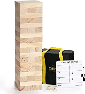 A11N Large Toppling Tower Game | 54 Blocks, Starts at 1.5 Feet Tall and Build to 3 Feet Tall | Wooden Stacking Yard Game with Carrying Bag, Rules Board, 2 Dice