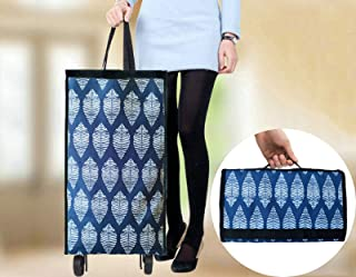 Cocobuy Shopping Bag with Wheels Reusable Shopping Bags Grocery Bags Shopping Bag with Wheel Foldable Shopping Cart Reusable Shopping Bag Grocery Bag(Blue Leaves)