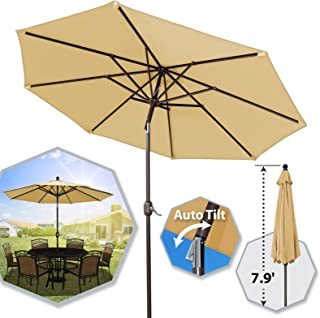 BenefitUSA 9 Ft Outdoor Table Aluminum Patio Umbrella with Auto Tilt and Crank & Polyester Cover & Alu. 8 Ribs (Beige)