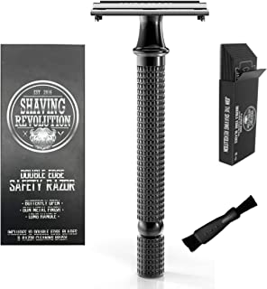 Long Handle Double Edge Safety Razor - Butterfly Open Razor with 10 Japanese Stainless Steel Double Edge Safety Razor Blades - Close, Clean Shaving Razor for Men.