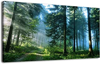 arteWOODS Green Forest Canvas Wall Art Living Room Wall Decor Large Nature Pictures Canvas Artwork Contemporary Wall Art Modern Landscape Pine Trees for Kitchen Office Home Decoration 20