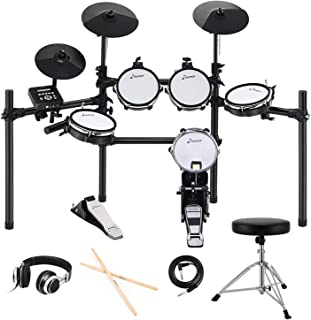 Donner DED-200 Electric Kit Electronic with Mesh Head 8 Piece, Drum Throne, Sticks Headphone and Audio Cable Included, More Stable Iron Metal Support Set