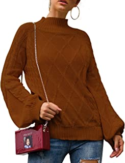 Bibowa Women Mock Turtleneck Sweater Slouchy Sweater Baggy Oversized Comfy Pullover