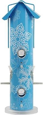 Perky-Pet 684007 391Snow Snowflake Metal Tube Wild Bird Feeder, Blue