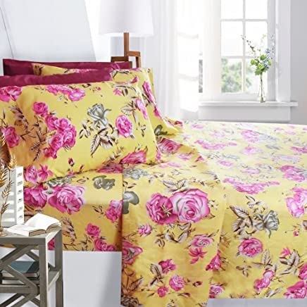 Clara Clark Printed Bed Sheet Set,  Full Size - Pink Roses,  6 Piece Bed Sheet 100% Soft Brushed Microfiber,  with Deep Pocket Fitted Sheet,  1800 Luxury Bedding Collection,  Hypoallergenic,