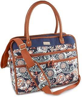 Fit & Fresh Wayfarer Carry On Bag for Women, Zippered Travel Tote, Navy Orange Paisley