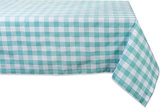 DII Checkered Collection Tabletop, Tablecloth, 60x104, Aqua