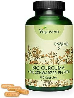Cúrcuma Orgánica + Pimienta Negra Vegavero® | La Dosis Más Alta: 4200mg | Vegana & Sin Aditivos | Digestión + Articulaciones + Antiinflamatorio | 180 Cápsulas | Producto BIO | Turmeric