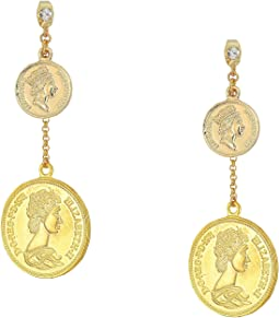 Double Coin Drop Earrings