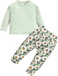 Toddler Baby Girl Flowers Clothes Long Sleeve Sweatshirt Pullover Tops Long Pant Set Daisy Fall Winter Outfits, Green, 18-...