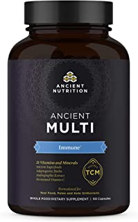 Ancient Multi Immune - 21 Vitamins & Minerals, Adaptogenic Herbs, Paleo & Keto Friendly, 90 Capsules