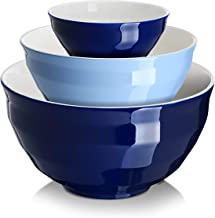 DOWAN Ceramic Mixing Bowls for Kitchen, Size 4.25/2/0.5 Qt Large Serving Bowl Set, Microwave and Dishwasher Safe, Sturdy &...