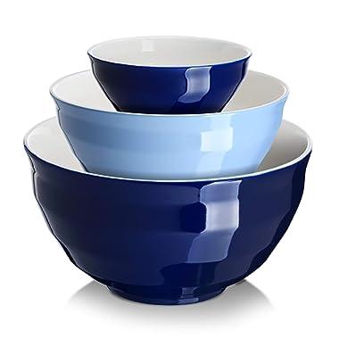 DOWAN Porcelain Mixing Bowls Set, Large Serving Bowls, Mixing Bowls for Kitchen, Salad, Nesting Bowls, Microwave Safe, 0.5/2/4.25 Qt, Blue